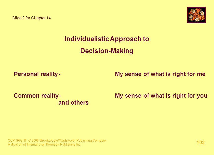 COPYRIGHT © 2006 Brooks/Cole*Wadsworth Publishing Company A division of International Thomson Publishing Inc. 102 Slide 2 for Chapter 14 Individualist