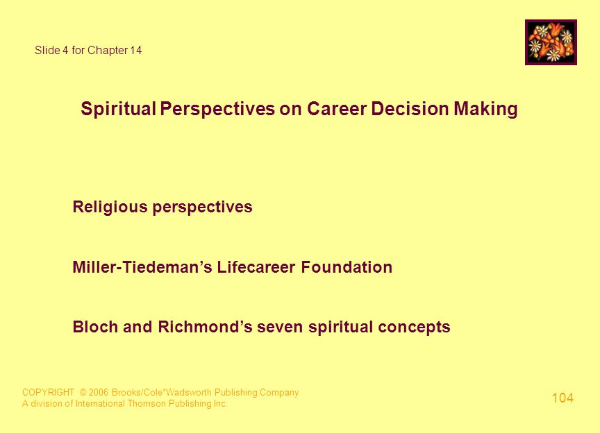 COPYRIGHT © 2006 Brooks/Cole*Wadsworth Publishing Company A division of International Thomson Publishing Inc. 104 Slide 4 for Chapter 14 Spiritual Per