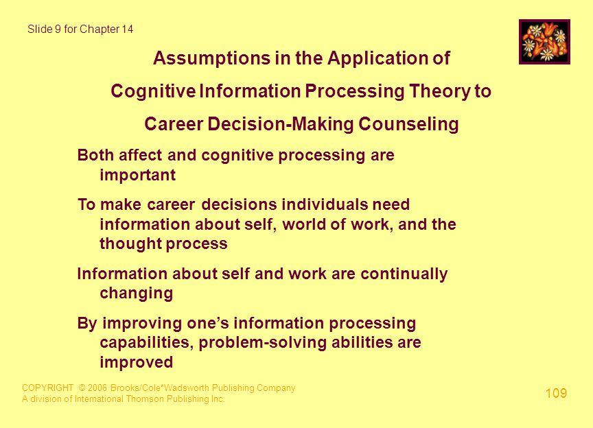 COPYRIGHT © 2006 Brooks/Cole*Wadsworth Publishing Company A division of International Thomson Publishing Inc. 109 Slide 9 for Chapter 14 Assumptions i
