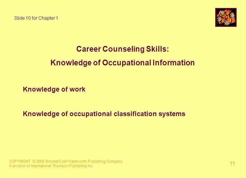 COPYRIGHT © 2006 Brooks/Cole*Wadsworth Publishing Company A division of International Thomson Publishing Inc. 11 Career Counseling Skills: Knowledge o