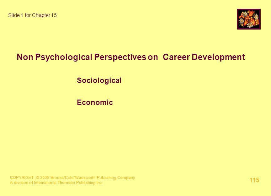 COPYRIGHT © 2006 Brooks/Cole*Wadsworth Publishing Company A division of International Thomson Publishing Inc. 115 Slide 1 for Chapter 15 Non Psycholog