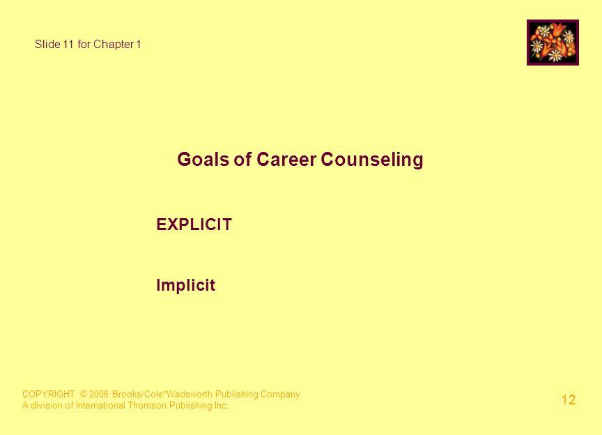 COPYRIGHT © 2006 Brooks/Cole*Wadsworth Publishing Company A division of International Thomson Publishing Inc. 12 Goals of Career Counseling EXPLICIT I