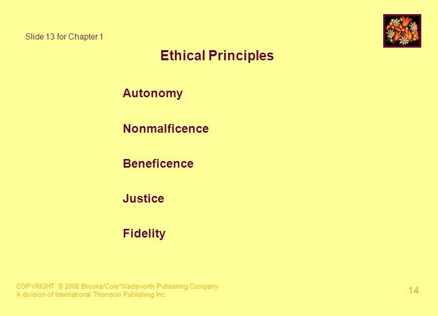 COPYRIGHT © 2006 Brooks/Cole*Wadsworth Publishing Company A division of International Thomson Publishing Inc. 14 Ethical Principles Autonomy Nonmalfic