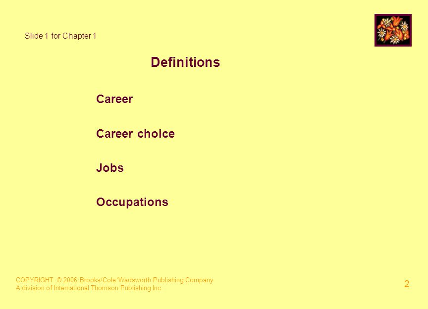 COPYRIGHT © 2006 Brooks/Cole*Wadsworth Publishing Company A division of International Thomson Publishing Inc. 2 Slide 1 for Chapter 1 Definitions Care