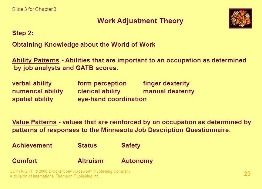 COPYRIGHT © 2006 Brooks/Cole*Wadsworth Publishing Company A division of International Thomson Publishing Inc. 23 Slide 3 for Chapter 3 Work Adjustment