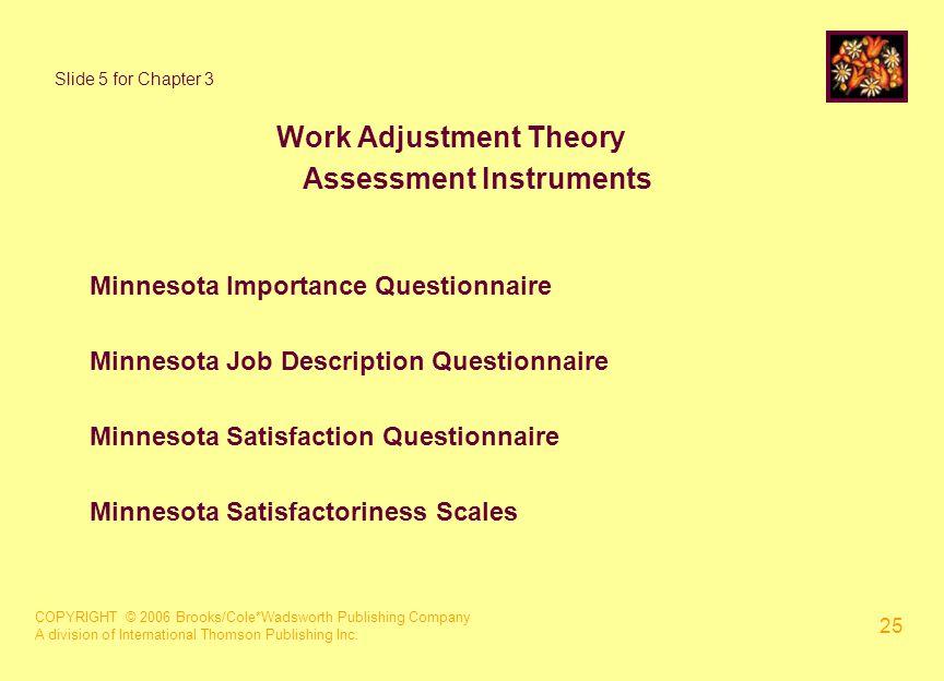 COPYRIGHT © 2006 Brooks/Cole*Wadsworth Publishing Company A division of International Thomson Publishing Inc. 25 Slide 5 for Chapter 3 Work Adjustment