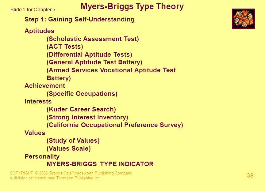 COPYRIGHT © 2006 Brooks/Cole*Wadsworth Publishing Company A division of International Thomson Publishing Inc. 38 Myers-Briggs Type Theory Step 1: Gain