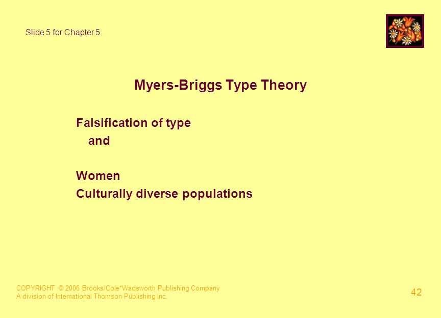 COPYRIGHT © 2006 Brooks/Cole*Wadsworth Publishing Company A division of International Thomson Publishing Inc. 42 Slide 5 for Chapter 5 Myers-Briggs Ty