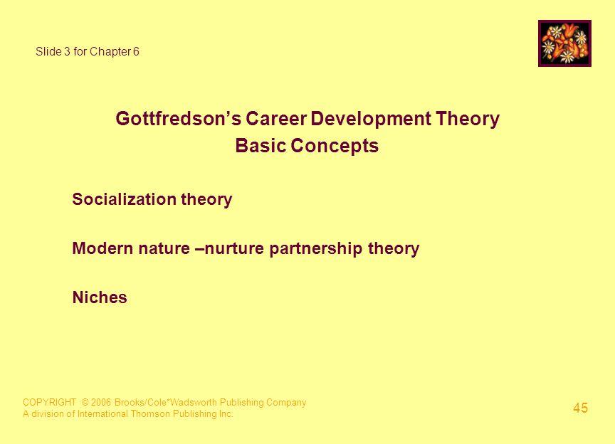 COPYRIGHT © 2006 Brooks/Cole*Wadsworth Publishing Company A division of International Thomson Publishing Inc. 45 Slide 3 for Chapter 6 Gottfredson's C