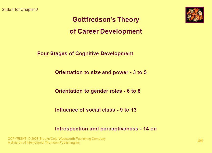 COPYRIGHT © 2006 Brooks/Cole*Wadsworth Publishing Company A division of International Thomson Publishing Inc. 46 Slide 4 for Chapter 6 Gottfredson's T