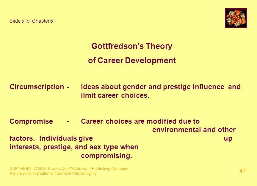 COPYRIGHT © 2006 Brooks/Cole*Wadsworth Publishing Company A division of International Thomson Publishing Inc. 47 Slide 5 for Chapter 6 Gottfredson's T