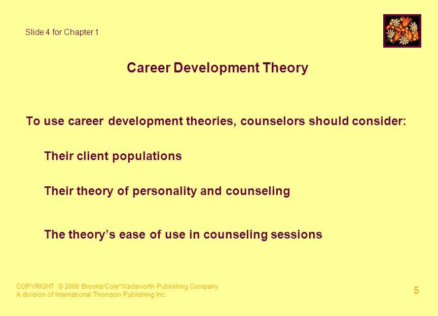 COPYRIGHT © 2006 Brooks/Cole*Wadsworth Publishing Company A division of International Thomson Publishing Inc. 5 Slide 4 for Chapter 1 Career Developme