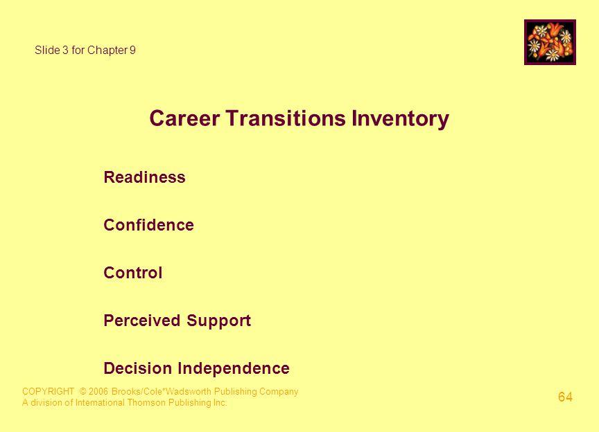 COPYRIGHT © 2006 Brooks/Cole*Wadsworth Publishing Company A division of International Thomson Publishing Inc. 64 Slide 3 for Chapter 9 Career Transiti