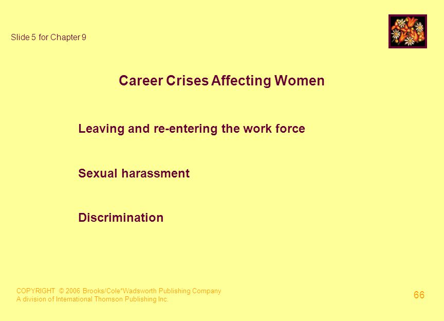 COPYRIGHT © 2006 Brooks/Cole*Wadsworth Publishing Company A division of International Thomson Publishing Inc. 66 Slide 5 for Chapter 9 Career Crises A