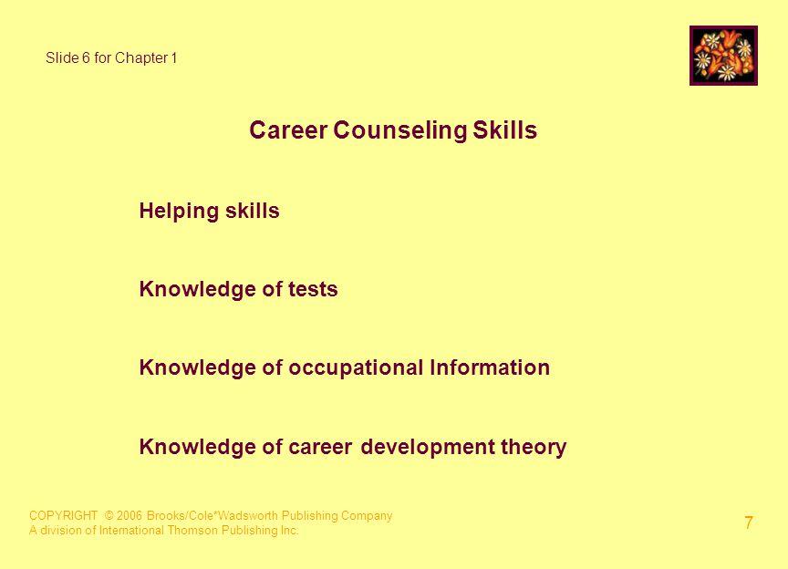 COPYRIGHT © 2006 Brooks/Cole*Wadsworth Publishing Company A division of International Thomson Publishing Inc. 7 Career Counseling Skills Helping skill
