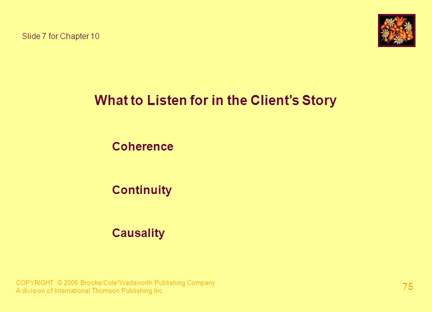 COPYRIGHT © 2006 Brooks/Cole*Wadsworth Publishing Company A division of International Thomson Publishing Inc. 75 Slide 7 for Chapter 10 What to Listen