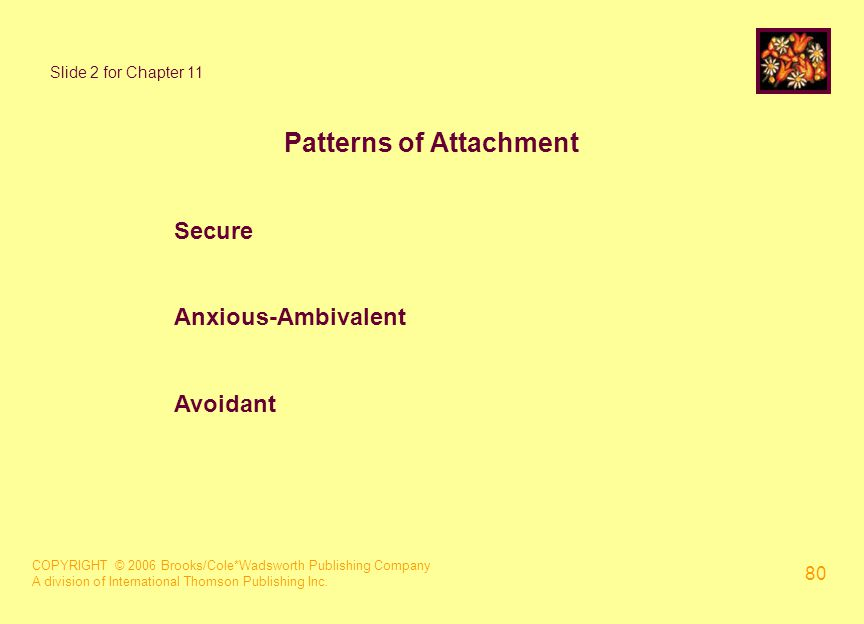 COPYRIGHT © 2006 Brooks/Cole*Wadsworth Publishing Company A division of International Thomson Publishing Inc. 80 Slide 2 for Chapter 11 Patterns of At