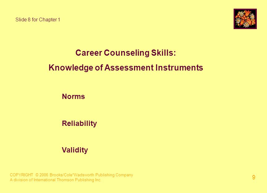 COPYRIGHT © 2006 Brooks/Cole*Wadsworth Publishing Company A division of International Thomson Publishing Inc. 9 Career Counseling Skills: Knowledge of