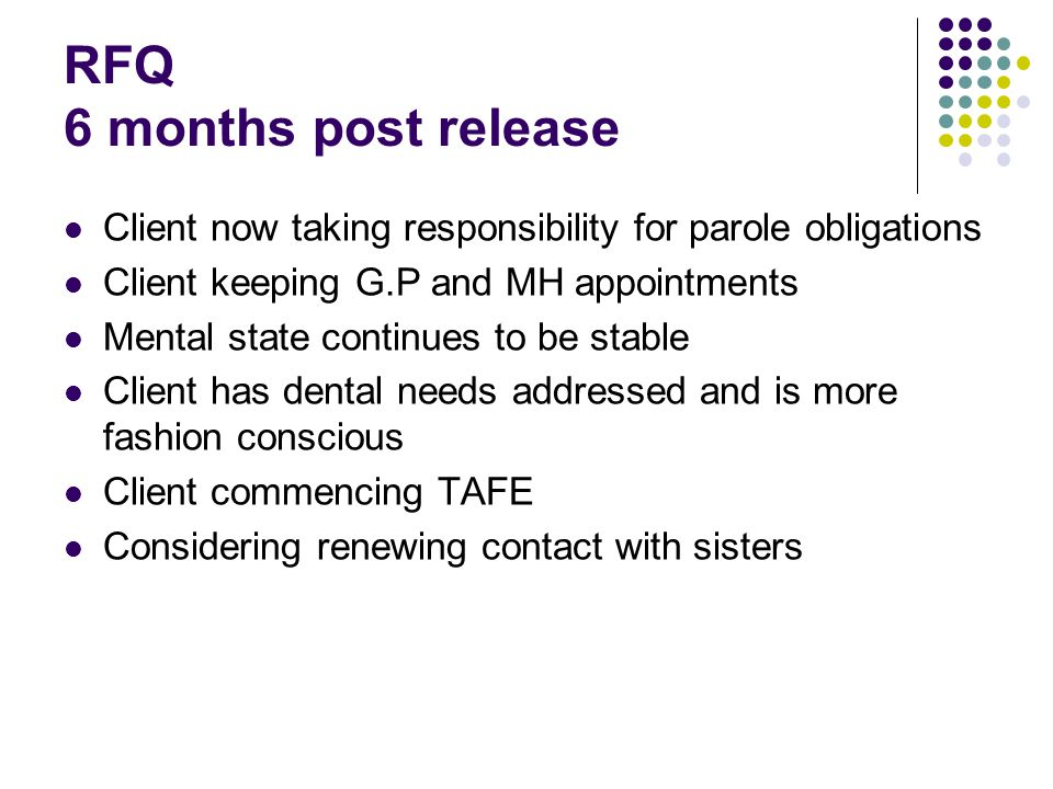 RFQ 6 months post release Client now taking responsibility for parole obligations Client keeping G.P and MH appointments Mental state continues to be stable Client has dental needs addressed and is more fashion conscious Client commencing TAFE Considering renewing contact with sisters