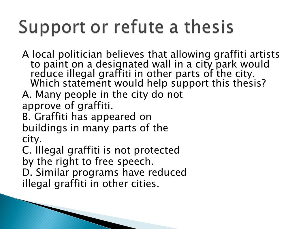 A local politician believes that allowing graffiti artists to paint on a designated wall in a city park would reduce illegal graffiti in other parts o
