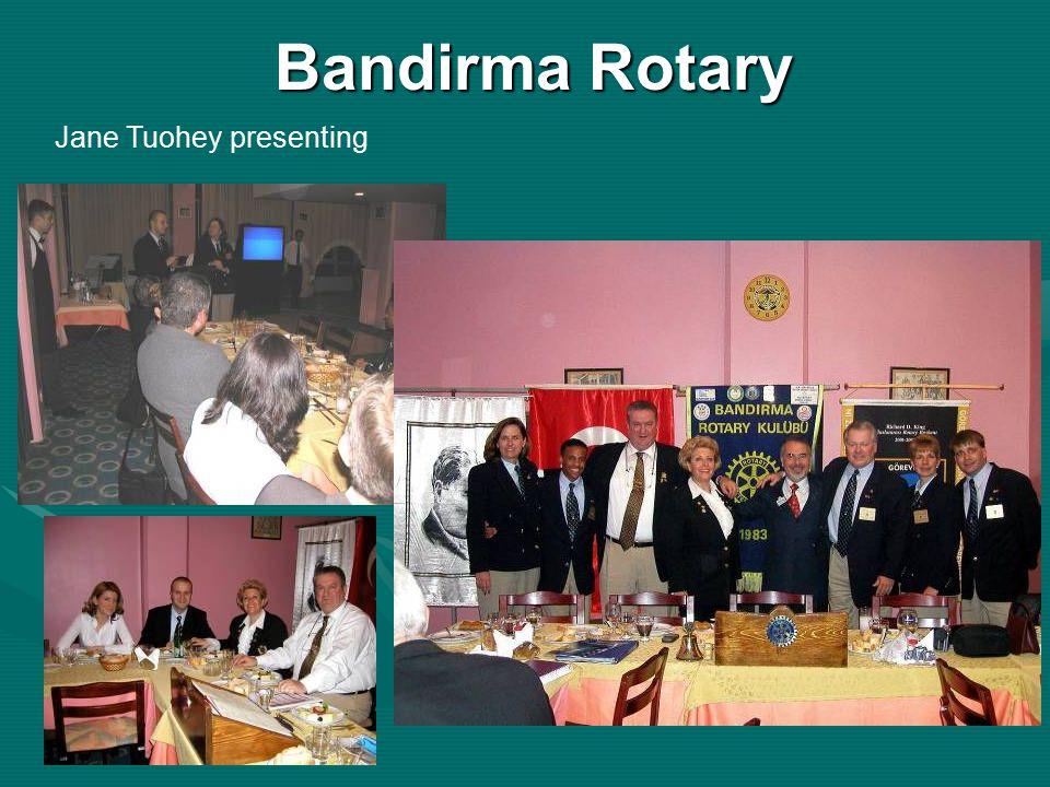 Bandirma Rotary Jane Tuohey presenting