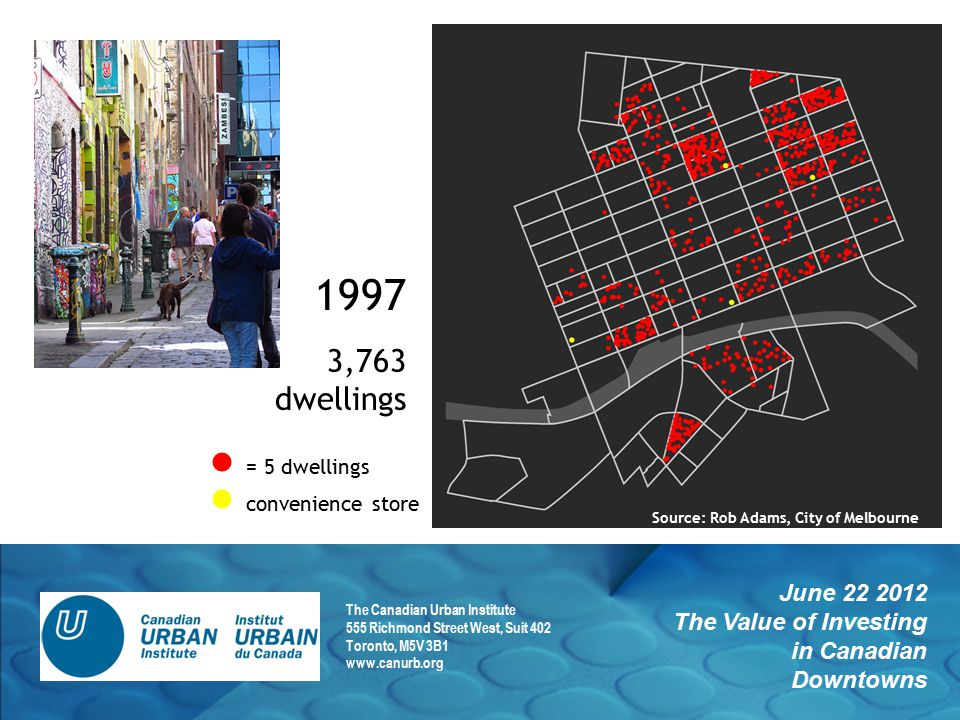 June 22 2012 The Value of Investing in Canadian Downtowns The Canadian Urban Institute 555 Richmond Street West, Suit 402 Toronto, M5V 3B1 www.canurb.org 1997 3,763 dwellings = 5 dwellings convenience store Source: Rob Adams, City of Melbourne
