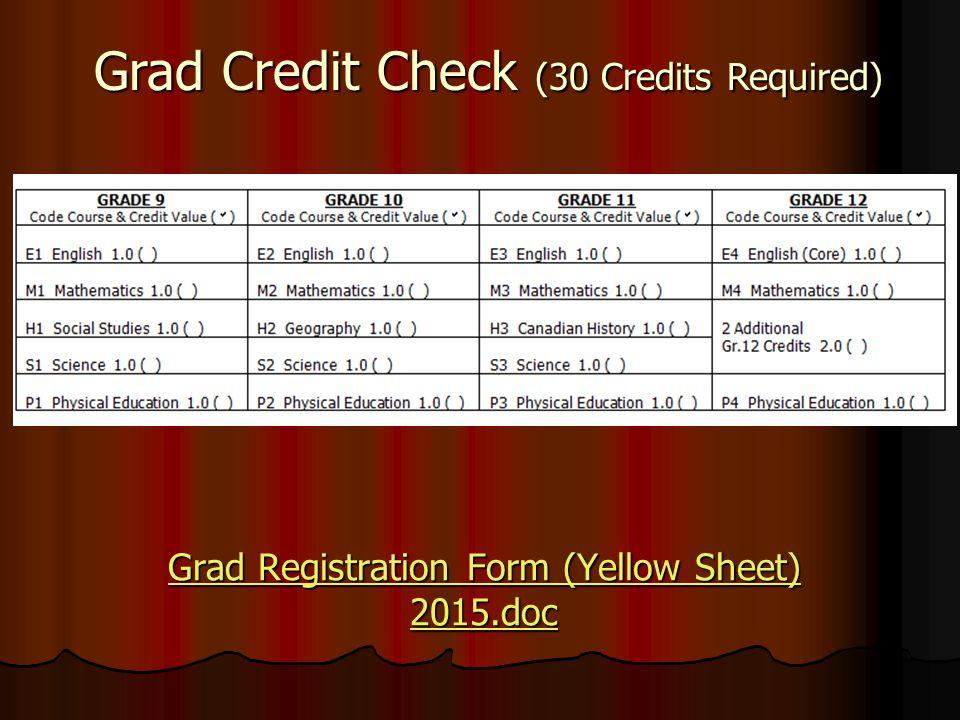 Grad Credit Check (30 Credits Required) Grad Registration Form (Yellow Sheet) 2015.doc Grad Registration Form (Yellow Sheet) 2015.doc