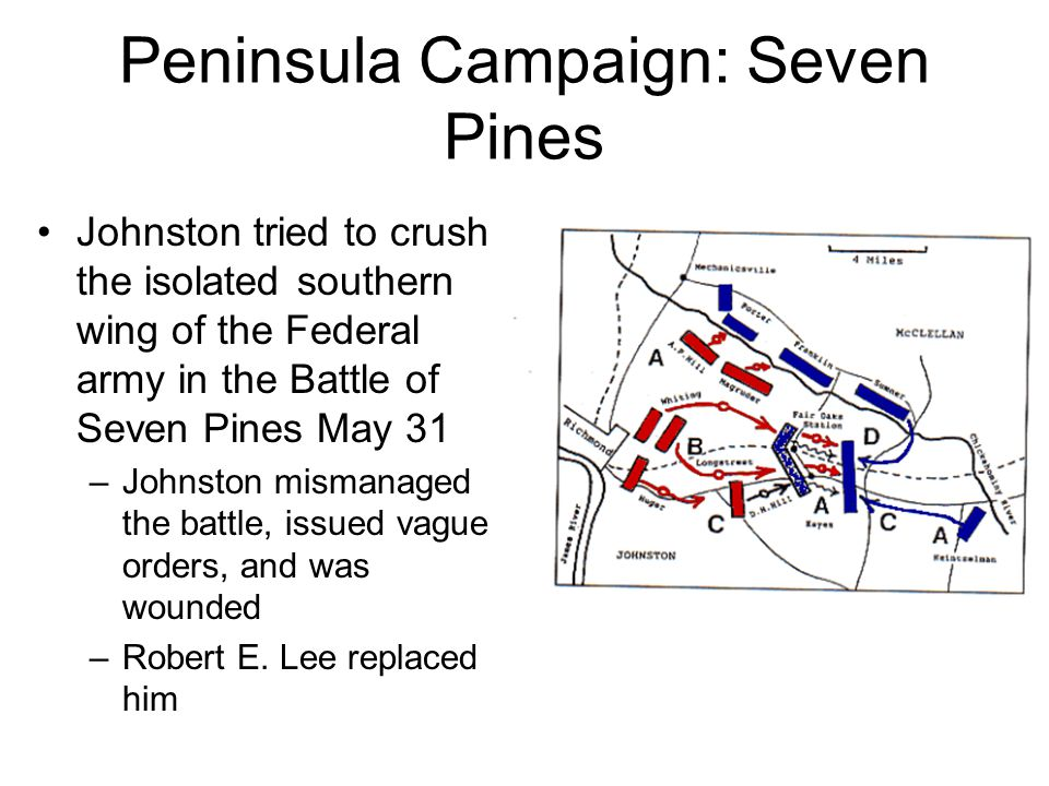 Peninsula Campaign: Seven Pines Johnston tried to crush the isolated southern wing of the Federal army in the Battle of Seven Pines May 31 –Johnston mismanaged the battle, issued vague orders, and was wounded –Robert E.