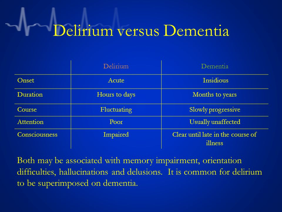 Delirium versus Dementia DeliriumDementia OnsetAcute Insidious DurationHours to daysMonths to years CourseFluctuatingSlowly progressive AttentionPoorUsually unaffected ConsciousnessImpairedClear until late in the course of illness Both may be associated with memory impairment, orientation difficulties, hallucinations and delusions.