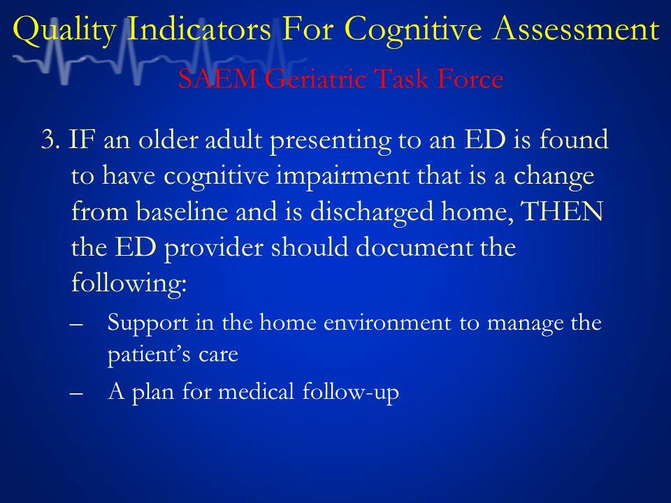Quality Indicators For Cognitive Assessment SAEM Geriatric Task Force 3.