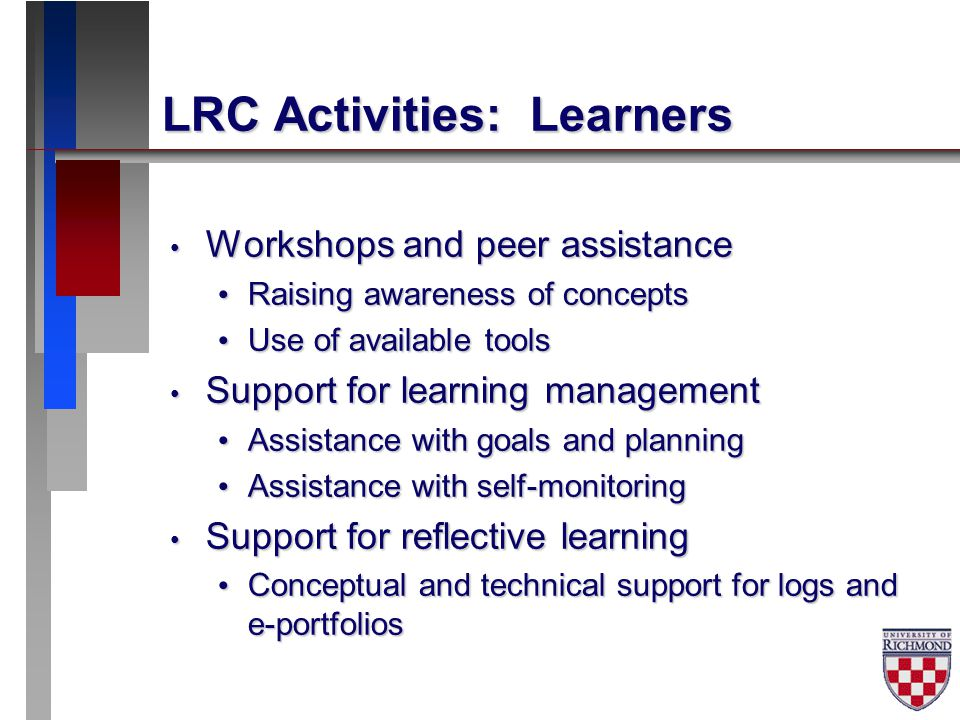 LRC Activities: Learners Workshops and peer assistance Workshops and peer assistance Raising awareness of concepts Raising awareness of concepts Use of available tools Use of available tools Support for learning management Support for learning management Assistance with goals and planning Assistance with goals and planning Assistance with self-monitoring Assistance with self-monitoring Support for reflective learning Support for reflective learning Conceptual and technical support for logs and e-portfolios Conceptual and technical support for logs and e-portfolios