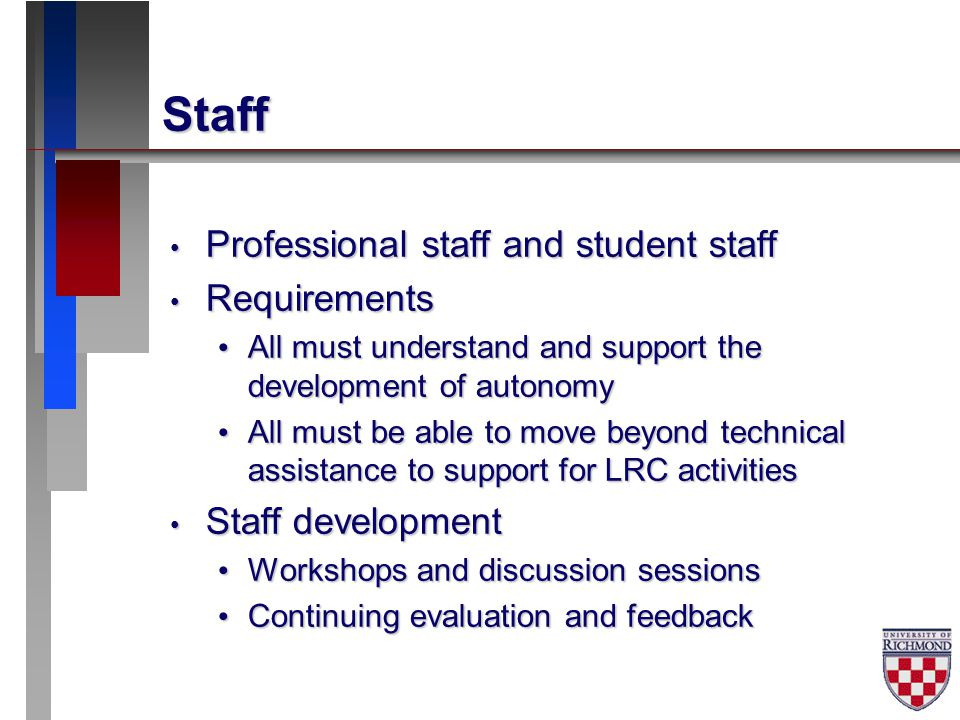 Staff Professional staff and student staff Professional staff and student staff Requirements Requirements All must understand and support the development of autonomy All must understand and support the development of autonomy All must be able to move beyond technical assistance to support for LRC activities All must be able to move beyond technical assistance to support for LRC activities Staff development Staff development Workshops and discussion sessions Workshops and discussion sessions Continuing evaluation and feedback Continuing evaluation and feedback