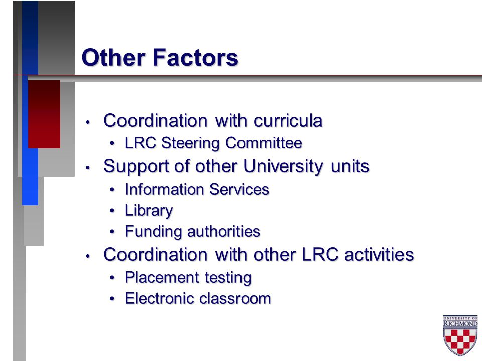 Other Factors Coordination with curricula Coordination with curricula LRC Steering Committee LRC Steering Committee Support of other University units Support of other University units Information Services Information Services Library Library Funding authorities Funding authorities Coordination with other LRC activities Coordination with other LRC activities Placement testing Placement testing Electronic classroom Electronic classroom