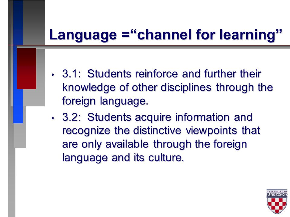 Need for learner autonomy 5.1: Students use the language both within and beyond the school setting.