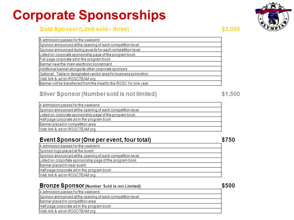 Corporate Sponsorships Gold Sponsor (Limit sold - three)$3,000 6 admission passes for the weekend Sponsor announced at the opening of each competition level Sponsor announced during awards for each competition level Listed on corporate sponsorship page of the program book Full page corporate ad in the program book Banner near the main electronic scoreboard Additional banner alongside other corporate sponsors Optional: Table in designated vendor area for business promotion Web link & ad on ROGCTEAM.org Banner will be transferred from the meet to the ROGC for one year Silver Sponsor (Number sold is not limited)$1,500 4 admission passes for the weekend Sponsor announced at the opening of each competition level Listed on corporate sponsorship page of the program book Half page corporate ad in the program book Banner placed in competition area Web link & ad on ROGCTEAM.org Event Sponsor (One per event, four total)$750 4 admission passes for the weekend Sponsor logo placed at the event Sponsor announced at the opening of each competition level Listed on corportate sponsorship page of the program book Banner placed in near event Half page corporate ad in the program book Web link & ad on ROGCTEAM.org Bronze Sponsor (Number Sold is not Limited) $500 4 admission passes for the weekend Sponsor announced at the opening of each competition level Banner placed in competition area Half page corporate ad in the program book Web link & ad on ROGCTEAM.org