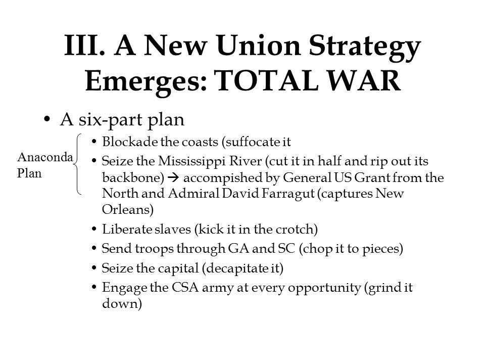 III. A New Union Strategy Emerges: TOTAL WAR A six-part plan Blockade the coasts (suffocate it Seize the Mississippi River (cut it in half and rip out