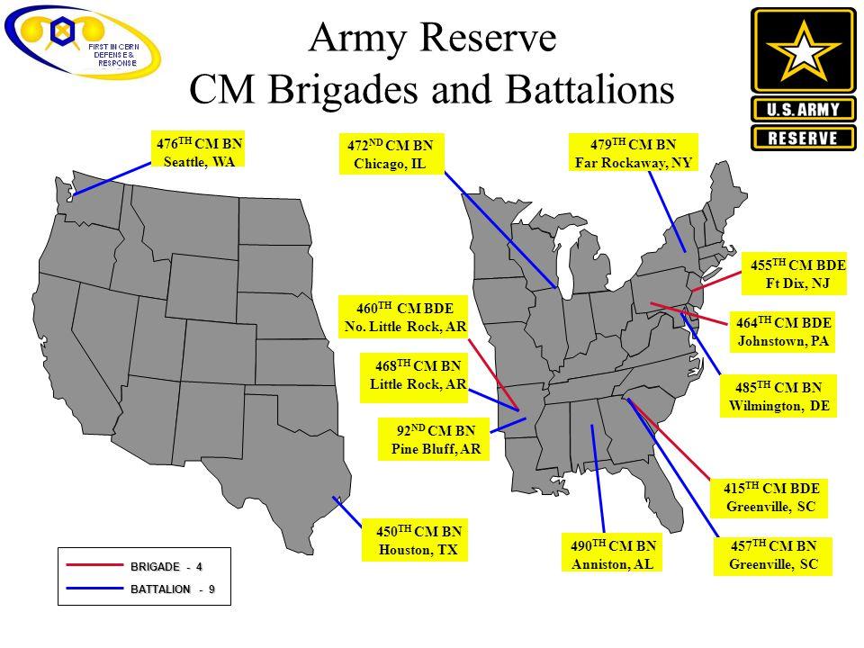 Army Reserve CM Brigades and Battalions BRIGADE - 4 BATTALION - 9 490 TH CM BN Anniston, AL 464 TH CM BDE Johnstown, PA 485 TH CM BN Wilmington, DE 45