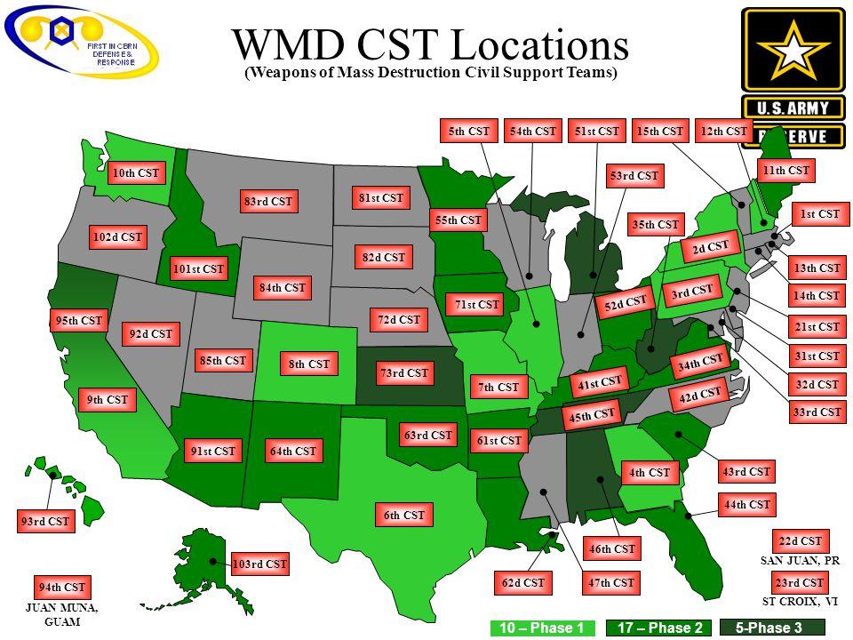 WMD CST Locations 9th CST 84th CST 72d CST 73rd CST 92d CST 8th CST 85th CST 61st CST 63rd CST 91st CST64th CST 6th CST 82d CST 81st CST 83rd CST 101s