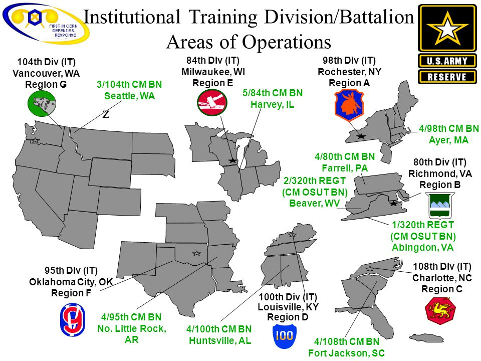 Institutional Training Division/Battalion Areas of Operations 104th Div (IT) Vancouver, WA Region G 100th Div (IT) Louisville, KY Region D 95th Div (I