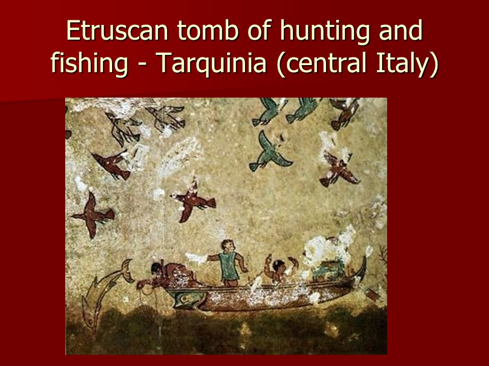 Etruscan tomb of hunting and fishing - Tarquinia (central Italy)