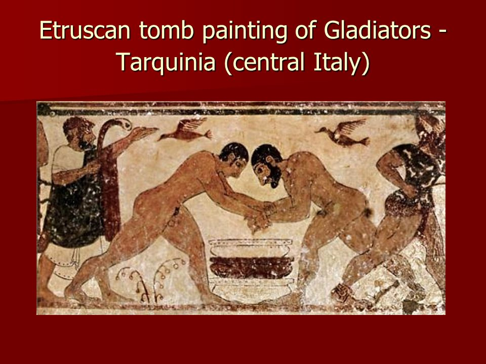 Etruscan tomb painting of Gladiators - Tarquinia (central Italy)