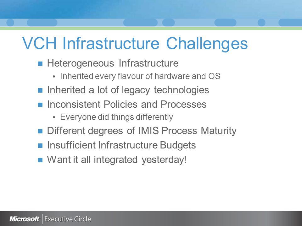 VCH Infrastructure Challenges Heterogeneous Infrastructure Inherited every flavour of hardware and OS Inherited a lot of legacy technologies Inconsistent Policies and Processes Everyone did things differently Different degrees of IMIS Process Maturity Insufficient Infrastructure Budgets Want it all integrated yesterday!