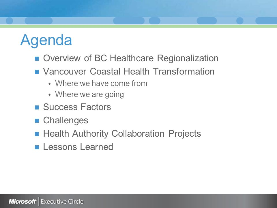 Agenda Overview of BC Healthcare Regionalization Vancouver Coastal Health Transformation Where we have come from Where we are going Success Factors Challenges Health Authority Collaboration Projects Lessons Learned
