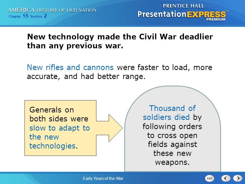 Chapter 15 Section 2 Early Years of the War Thousand of soldiers died by following orders to cross open fields against these new weapons.