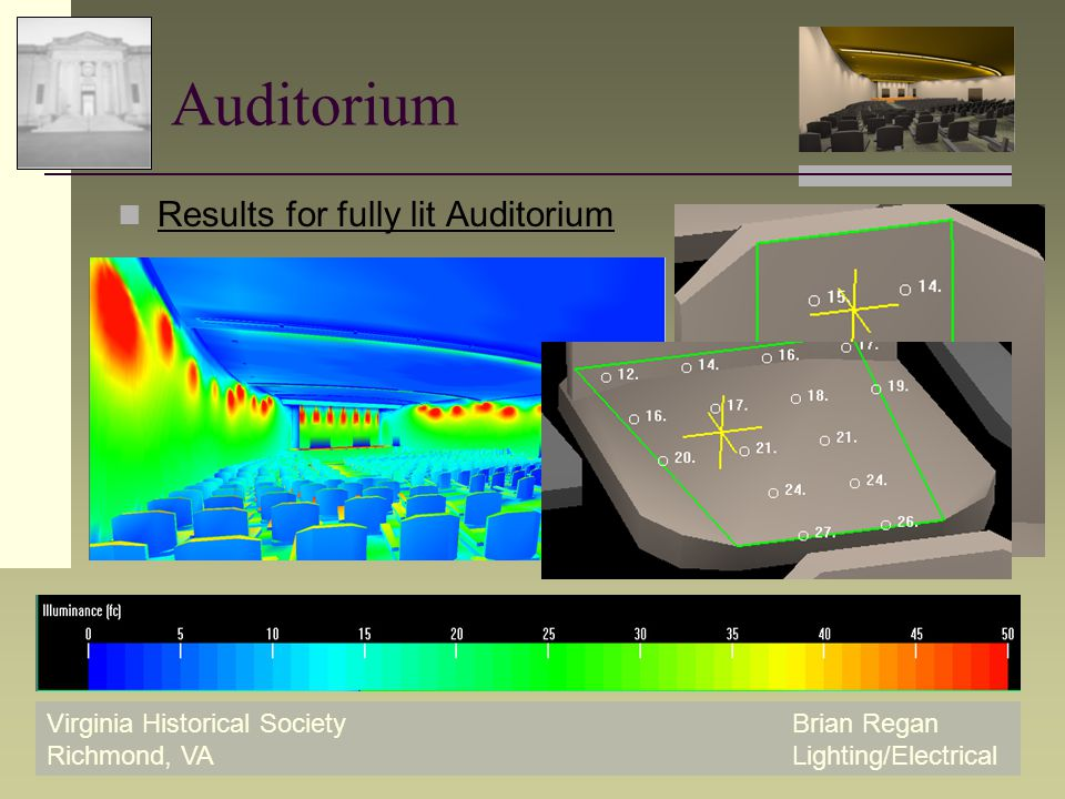 Virginia Historical SocietyBrian Regan Richmond, VALighting/Electrical Auditorium Results for fully lit Auditorium