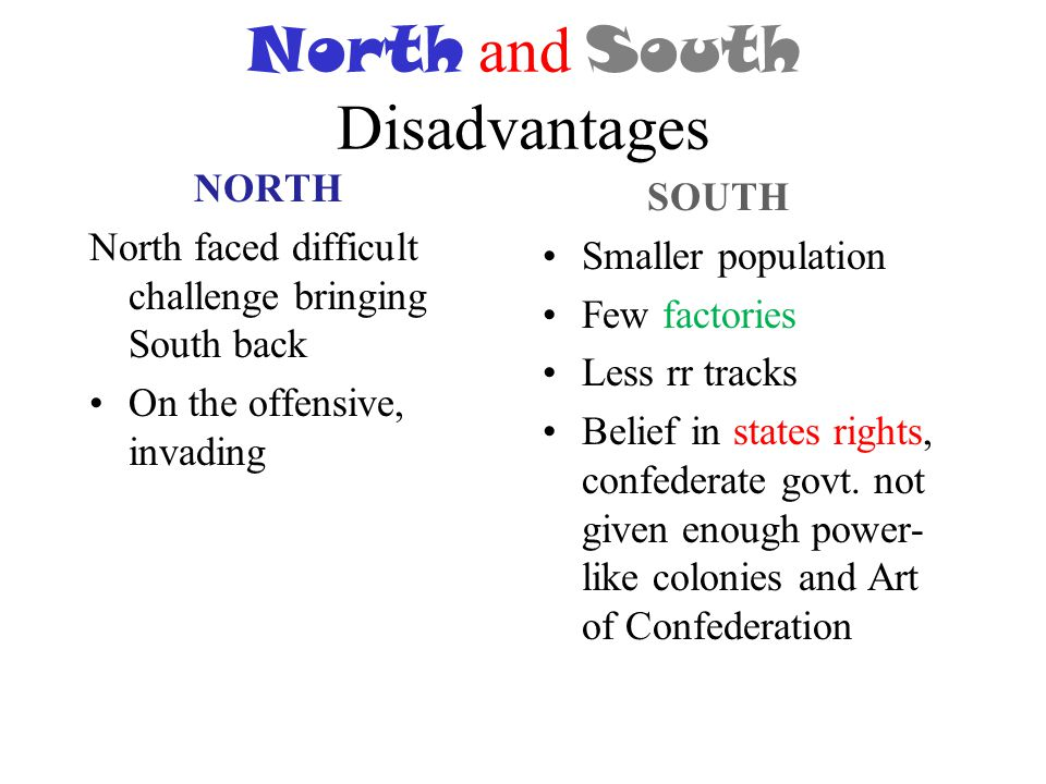 North and South Disadvantages NORTH North faced difficult challenge bringing South back On the offensive, invading SOUTH Smaller population Few factor