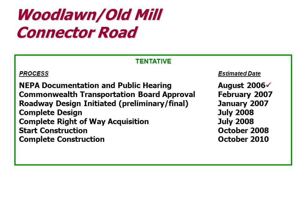 Woodlawn/Old Mill Connector Road TENTATIVE PROCESSEstimated Date NEPA Documentation and Public HearingAugust 2006 Commonwealth Transportation Board Approval February 2007 Roadway Design Initiated (preliminary/final)January 2007 Complete Design July 2008 Complete Right of Way Acquisition July 2008 Start ConstructionOctober 2008 Complete ConstructionOctober 2010