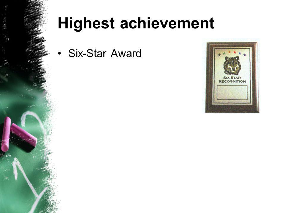 Highest achievement Six-Star Award