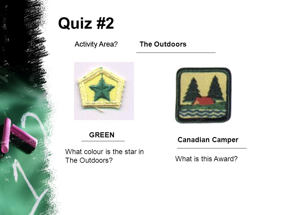 Cub Activity Awards Canadian Wilderness Canadian Camper Canadian Heritage Trails World Citizen Canadian Family Care Canadian Healthy Living Conservation Exploring Campcraft Personal Fitness Safety Citizen Canadian Arts No direct linkage to scout badge Integration with Scout Badges