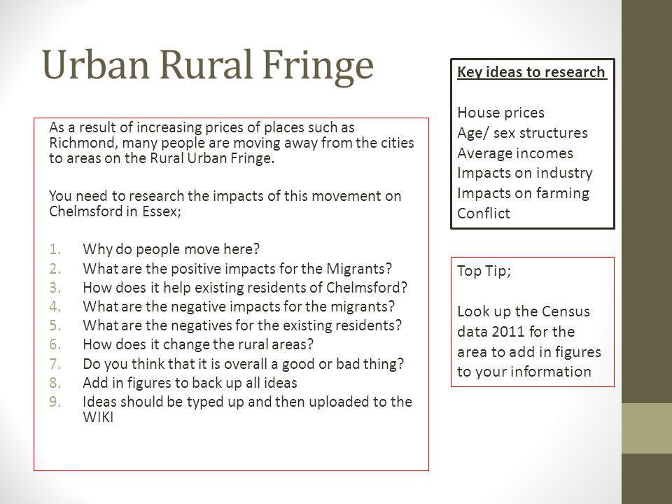Urban Rural Fringe As a result of increasing prices of places such as Richmond, many people are moving away from the cities to areas on the Rural Urban Fringe.